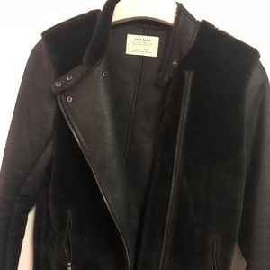 Zara Faux suede/ fur motorbike coat